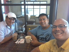Having coffee with friends